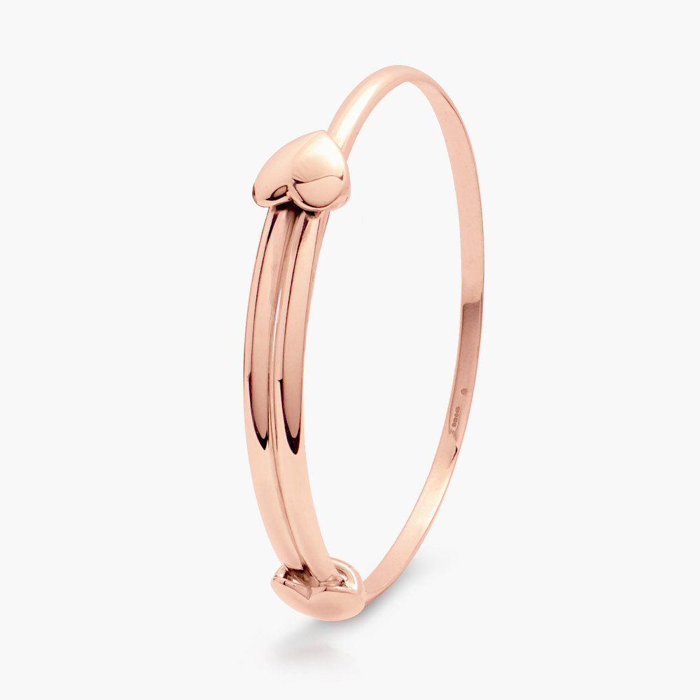 David Jonns 9ct Rose Gold Love Heart Bangle
