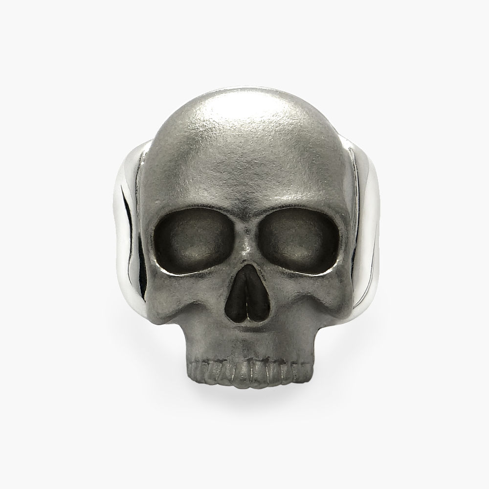 David Jonns Mens Rhodiumed Skull Ring