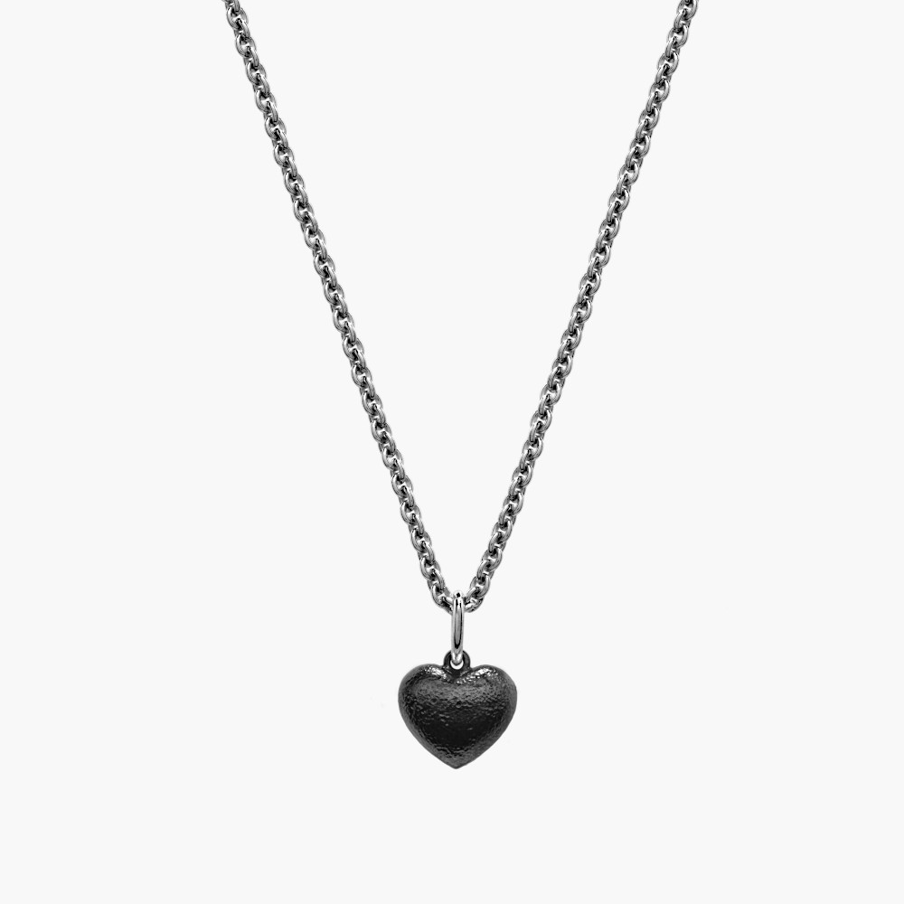 Oxidised Puffed Heart Pendant