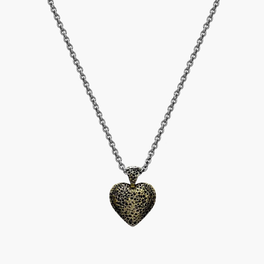 David Jonns Silver And 18ct Puffed Heart Pendant