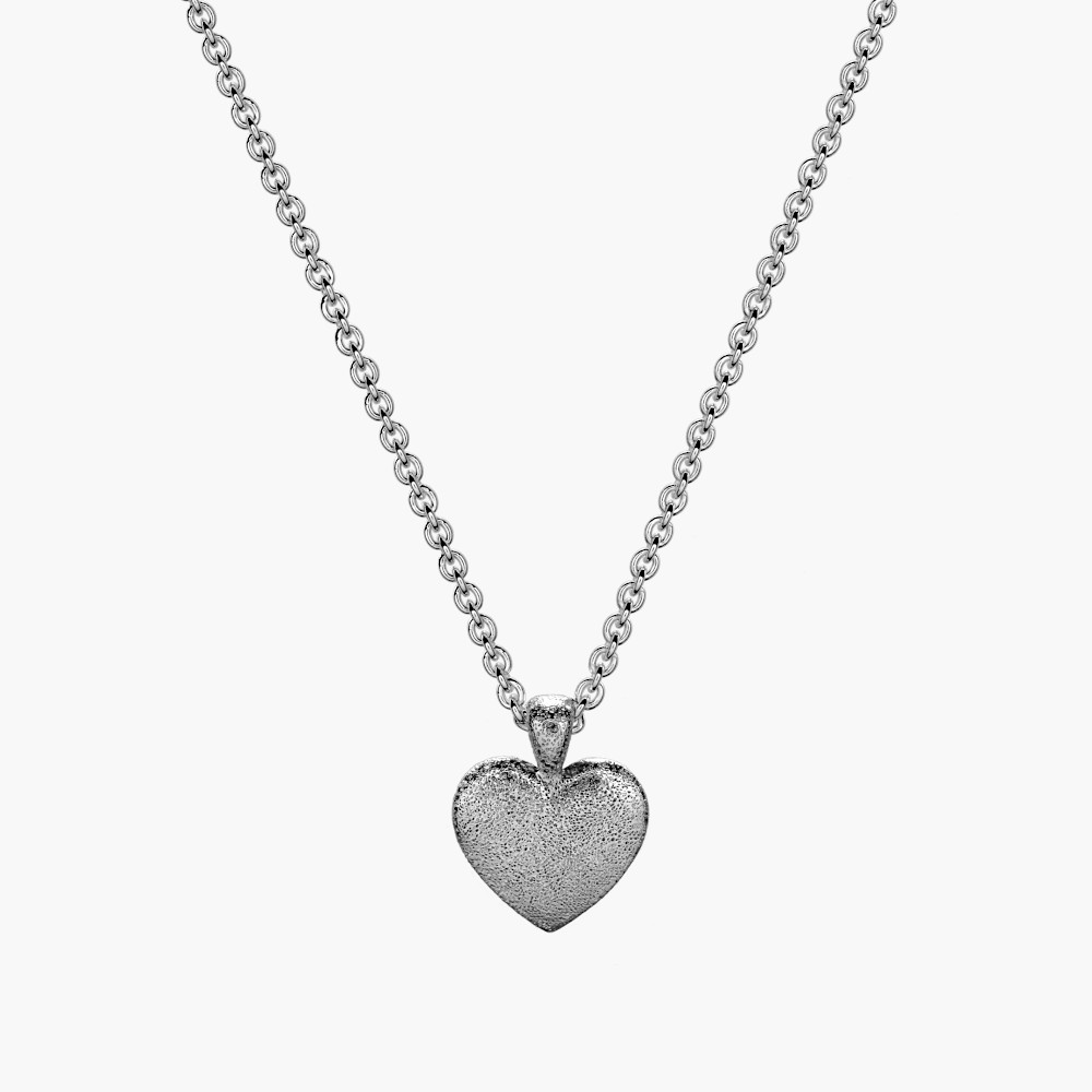 Silver Stippled Heart Pendant