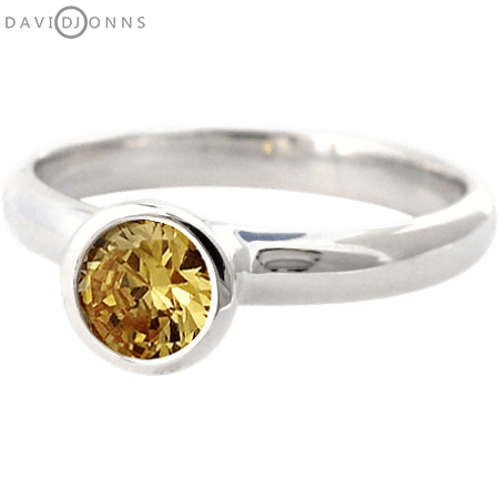 David Jonns Citrine CZ Stack Ring