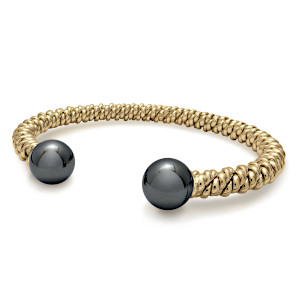 Gold Hematite Torsione Bangle